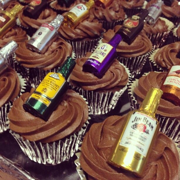 Naughty choc liqueur cupcakes