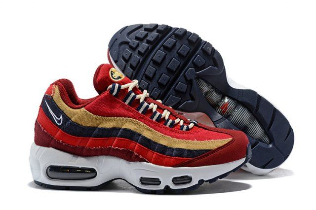 low priced 48d18 8fb92 Mens Womens Shoes Nike Air Max 95 Essential October Red Gold Navy Blue