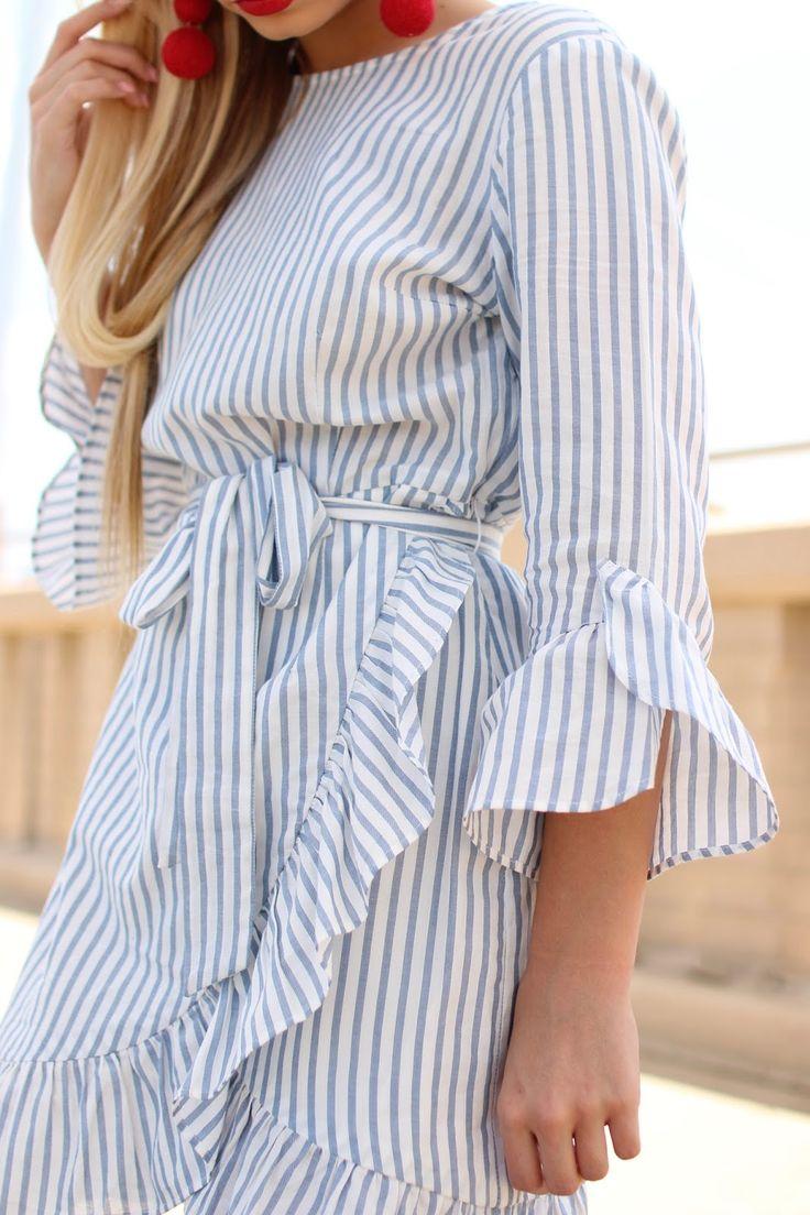 Striped Ruffle Dress   OTS & Ruffle Shorts Photography: Cooper Neill Dress Outfits Details Dr...