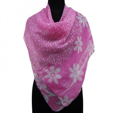 Pink Chiffon Scarf Polka Dot Women Stole Square Summer Beach Head Wrap Sarong
