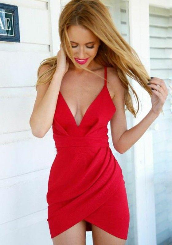 Red Plain Condole Belt Pleated Irregular Mini Dress