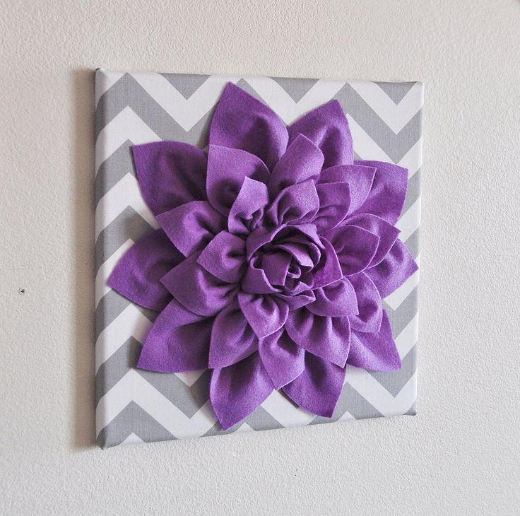 "Wall Decor -Lavender Dahlia on Gray and White Chevron 12 x12"" Canvas Wall Art- Baby Nursery Wall Decor-. $34.00, via Etsy."