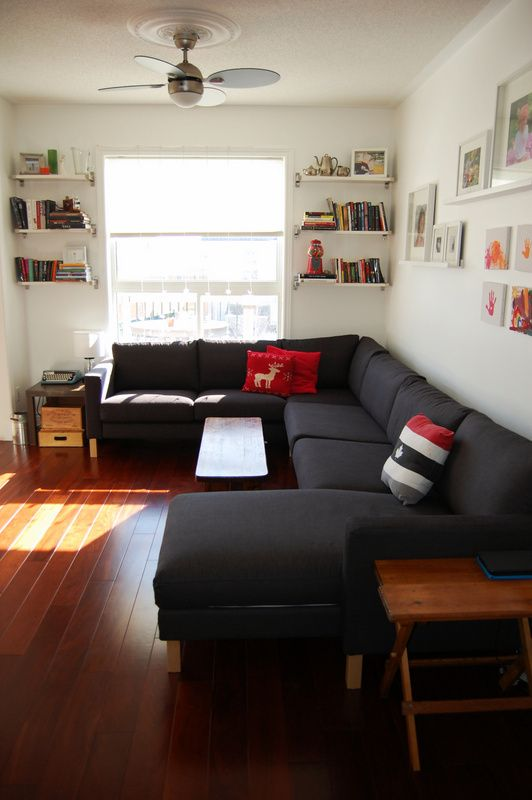 IKEA Karlstad sectional (2) With description of how fab it is for tall folks with kids. Love this use of a sectional in a small space.