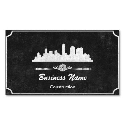 Black Concrete Construction Business Cards