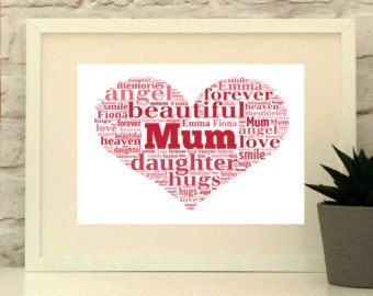 Gift for Mum  Personalised heart print. custom made from your choice of words and phrases.  Visit www.pepperdoodles.co.uk for more info and to order.  #mothersday #giftformum #giftformother #mam #mom #mum
