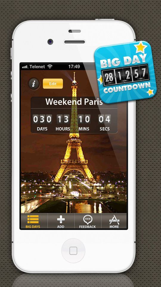 Get the Big Day Countdown App to remind you everything. #weeks, #widget, #winter, #years