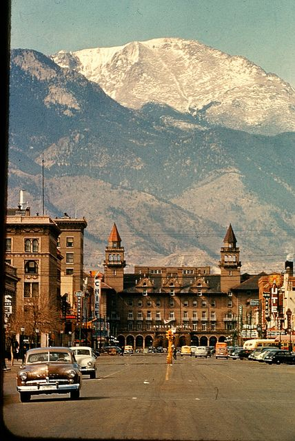 Downtown Colorado Springs with Pikes Peak, Antlers Hotel, Ute Chief Theaters - ca 1955