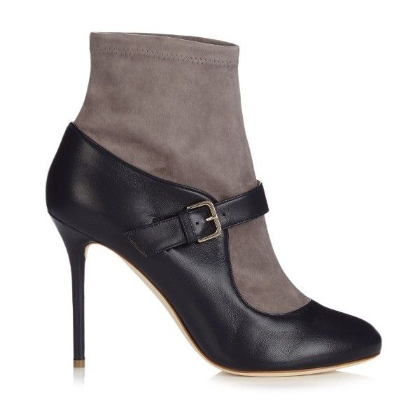 Malone Souliers Jeanette suede and leather sock boots (20,440 INR) ❤ liked on Polyvore featuring shoes, boots, gray leather boots, navy blue boots, leather stiletto boots, navy boots and navy suede boots
