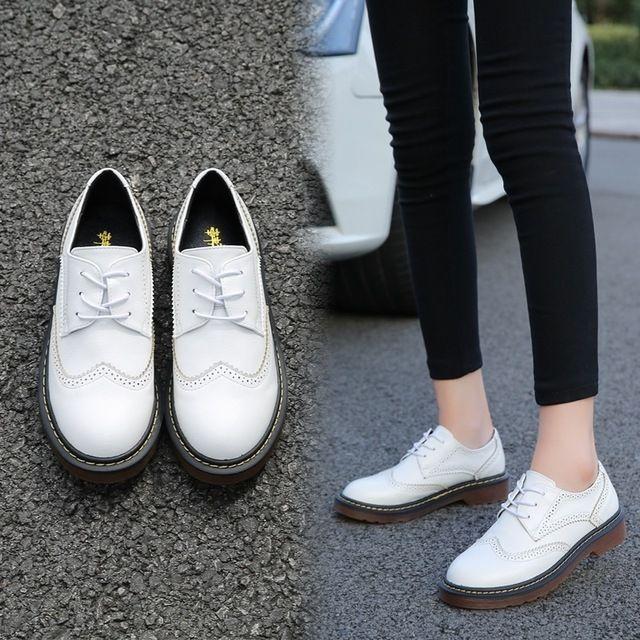 Осень новый brock обувь Британский стиль женщины плоским причинно обувь размер 5-10.5