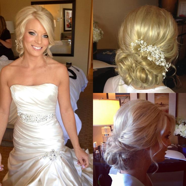 Perfect elegant bridal bride bridesmaid wedding hair look updo swept loose curls bun wavy waves blonde beautiful I want this style pretty clip pin bling comb etsy