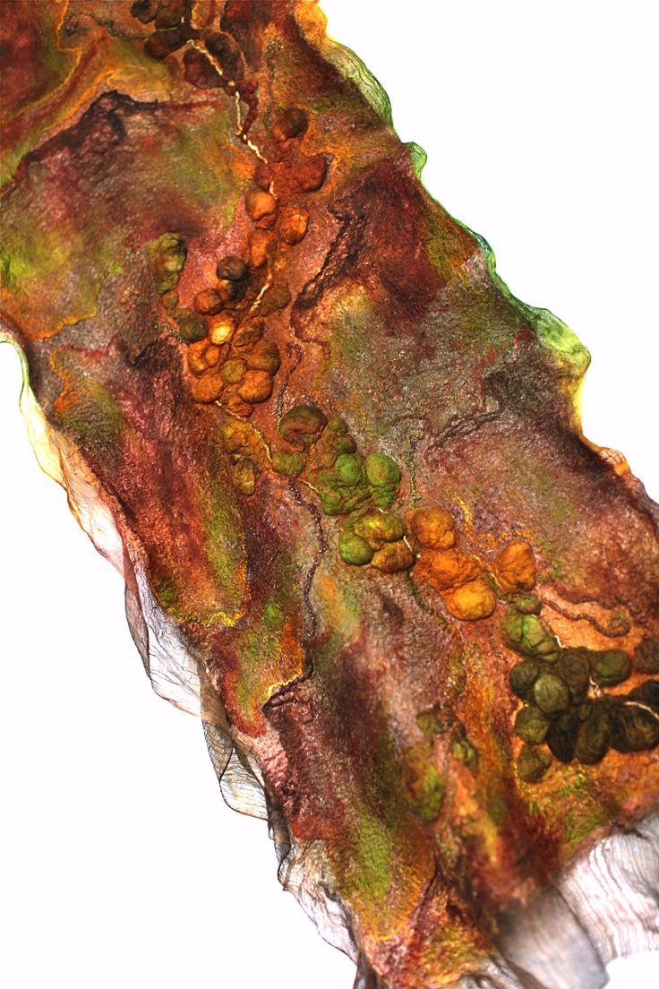 "https://flic.kr/p/dxRgze   Nuno Felted Textured Scarf Wrap   Superfine Australian merino wool, tencel top, mulberry silk, silk gauze fabric, silk yarn. Length 78 3/4"" (200 cm) Width 16"" (41 сm) #felt #vinokurovapin"
