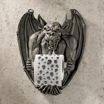 """Even your restroom will be """"flush"""" with Medieval flair when you showcase this Toscano-exclusive commode accessory! Our wall-mounted Gothic toilet tissue valet is crafted for your lavatory in quality d"""