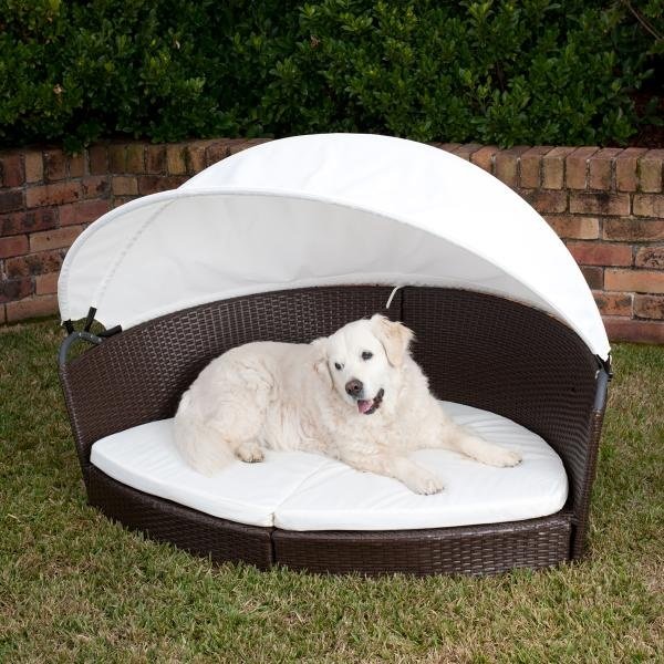 Pet Accessories alfresco rattan pet bed with canopy