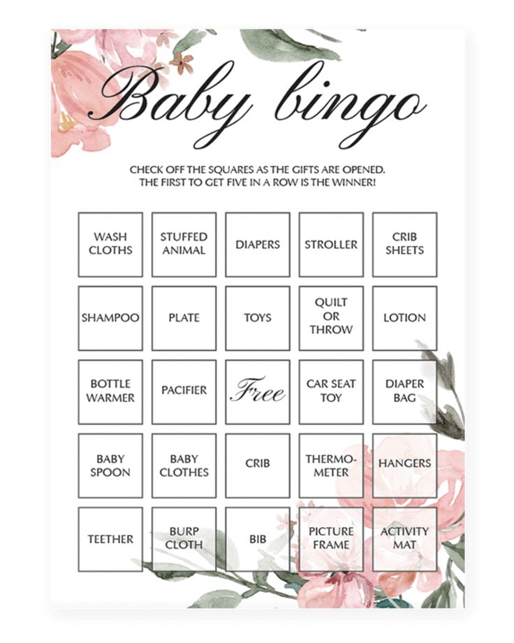 Blush pink baby shower bingo game cards by LittleSizzle