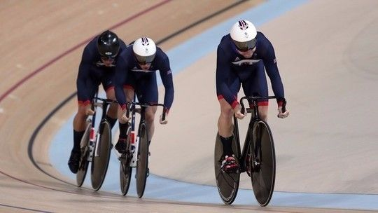 Team GB Philip Hindes, Jason Kenny and Callum Skinner