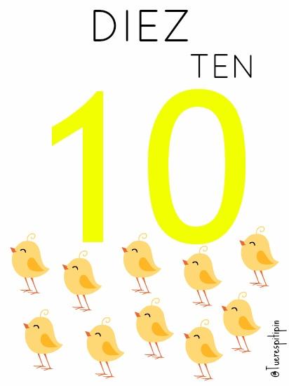 ♣ Tarjetas educativas: Números del 6 al 10 + 0