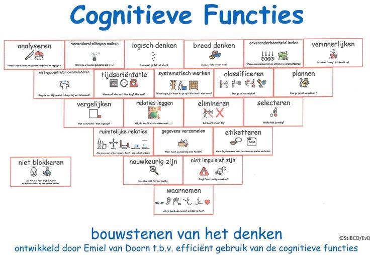 Indien je de behoefte eraan hebt hierbij de piramide van de cognitieve functies met afbeeldingen erin. Zeker als je met jonge kinderen werkt, wellicht een goed hulpmiddel. Emiel van Doorn