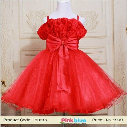 Baby Girl Red Wedding Dress - Princess Floral Party Dress, Baby Casual Wear, Designer Birthday Outfits, Big Bow on Tha Waist, Flower Girl Dress for Little Daughter, Kids Formal Clothing Size - 3 To 6 Yrs