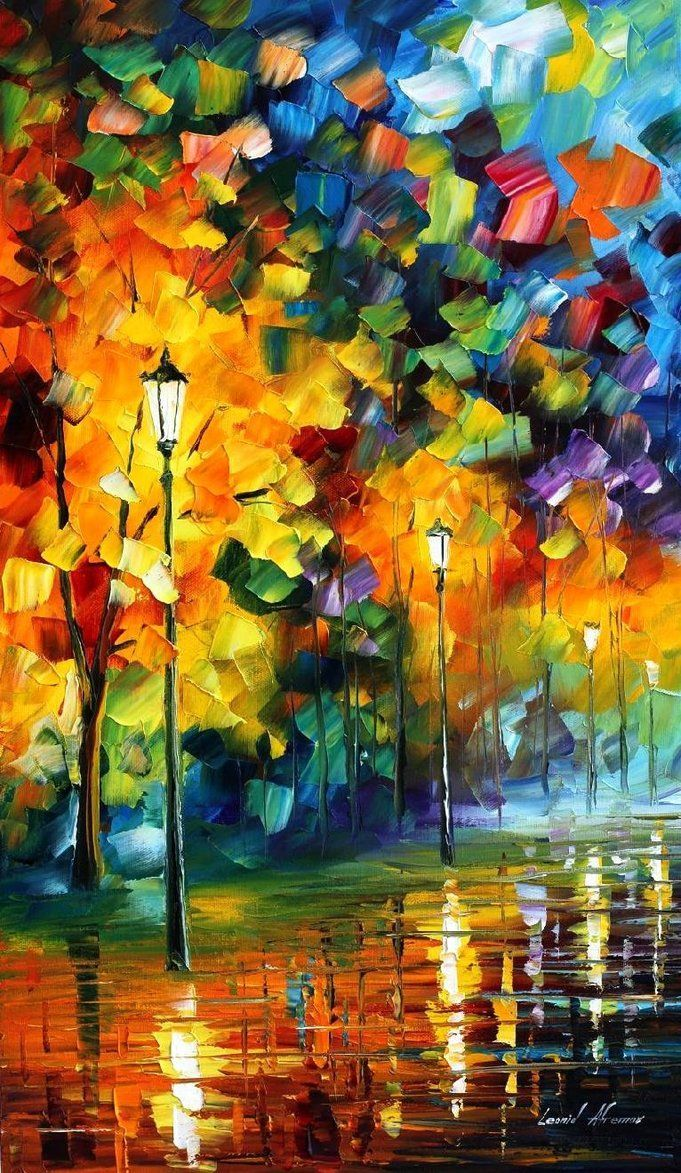 colorful painting by Leonid Afremov ... night time street scene after the rain ... brigjt and beautiful brush strokes ...