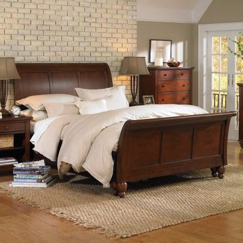 Cambridge Wood Sleigh Bed In Brown Cherry By Aspen Home