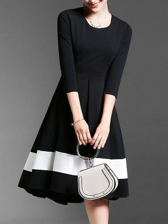 a793de8bbf72 Black High Low Daytime Casual Color-Block Midi Dress | My Style in ...