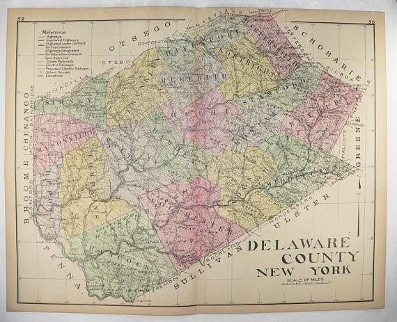 Large Vintage Map Delaware County NY Map, New York County 1912 Man Cave Decor Gift for Guy, Delhi NY, Deposit NY, Margaretville ny available from www.OldMapsandPrints.Etsy.com #DelawareCountyNYMap #LargeNewYorkCountyMap #DelhiNY