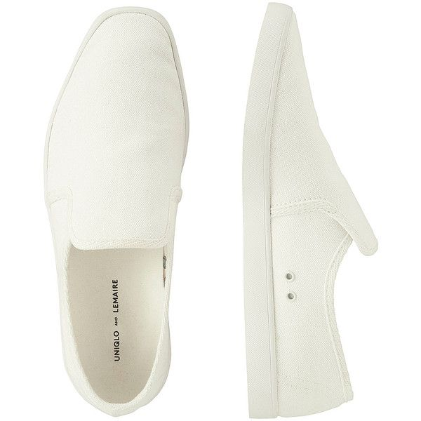 UNIQLO Lemaire Canvas Slip-On ($42) ❤ liked on Polyvore featuring men's fashion, men's shoes, white, mens white canvas shoes, mens white shoes, mens white slip on shoes, mens slipon shoes and mens canvas shoes