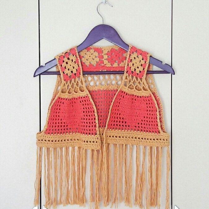 Festival Crochet Vest. Unique look.