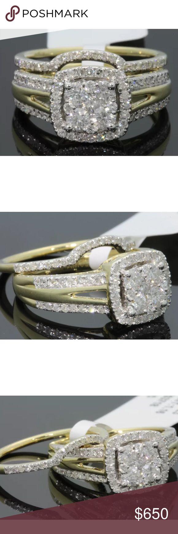 1.10 carat 10k yellow gold diamond ring set 1.10 carat 10k yellow gold diamond ring set! High quality diamonds retail over $2500!!! Jewelry Rings