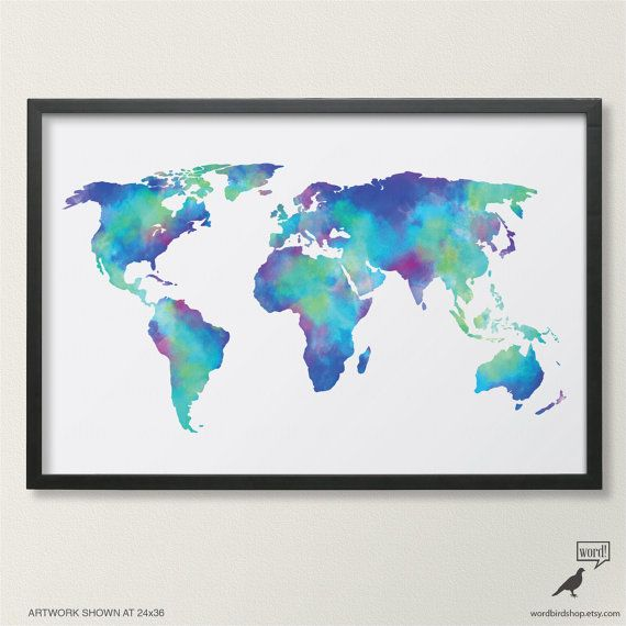 A vibrant blue digital watercolor painting of a large map of the world available in sizes up to 24x36 inches. Liven up your home with this original watercolor texture world map. A perfect addition to your bedroom decor or to make a statement in your home.  Orange Watercolor Map: www.etsy.com/listing/197233969 Purple Watercolor Map: www.etsy.com/listing/197894507  ORDERING ► Select size ► If applicable, enter color name/number in Notes to seller on checkout ► If print includes personalized…