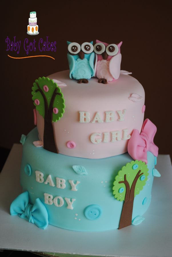 Baby shower cake for a momma expecting twins...a boy & a girl!!  Covered in fondant with fondant accents.  Owls handmade from fondant.  ...