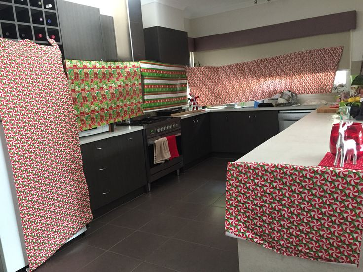 Tinsel wrapped the kitchen