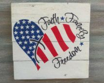 Patriotic Decor - Faith Family Freedom - Red White Blue - Americana Decor- Forth of July  Decor - 4th of July Decor - Flag Decor