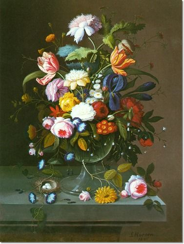 Still Life with Vase of Flowers in Glass Bowl by Severin Roesen