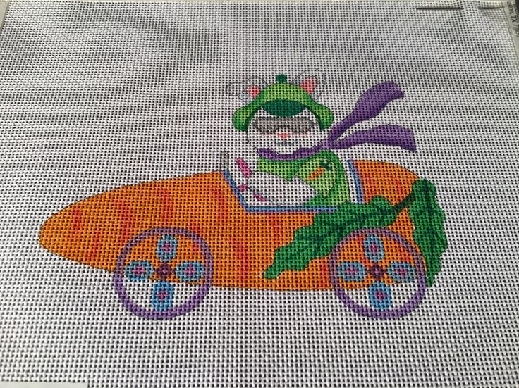 Easter Rabbit In Carrot Car Hand Painted Canvas For Cross Stitch CANVAS ONLY