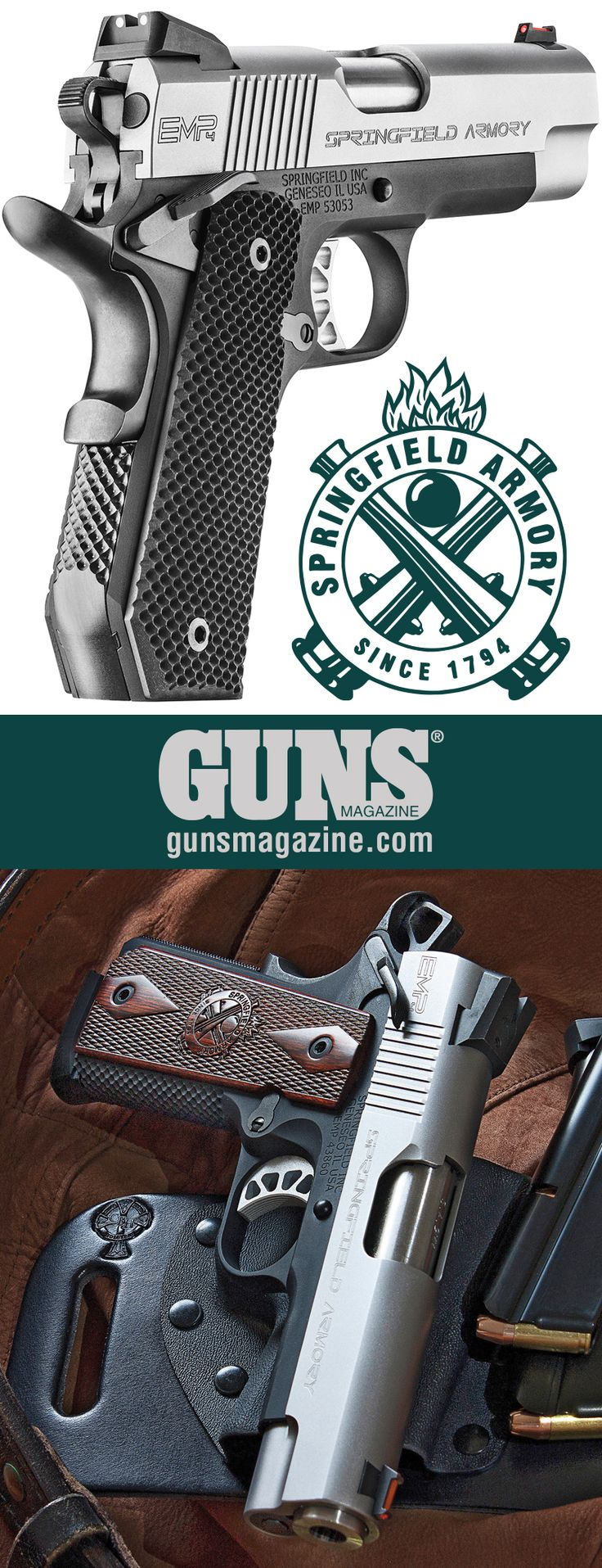 A Less-Filling Handful | Springfield's EMP4 Solves The 9mm/1911 Conundrum | By Jeff John | The Springfield Armory EMP4 9mm is a mid-size belt pistol offering 10+1 capacity and reduced grip size in a 1911. | © GUNS Magazine 2017