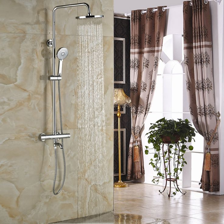 """107.99$  Watch here  - """"Luxury In-wall Shower Faucet with Thermostatic Mixer Valve Chrome 8"""""""" Rainfall Bath Shower Mixer Taps"""""""