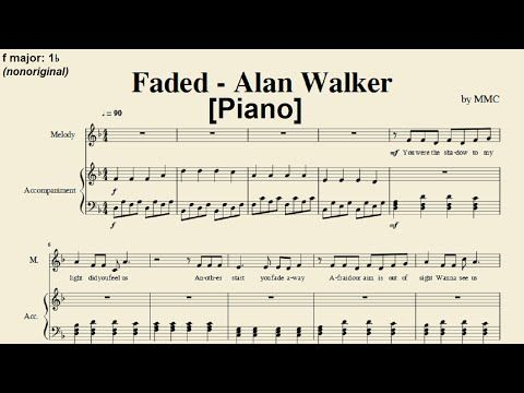 Faded - Alan Walker (Piano) [Sheet Music by MMC] [Easy key] - http://blog.pianoforbeginners.net/uncategorized/faded-alan-walker-piano-sheet-music-by-mmc-easy-key/