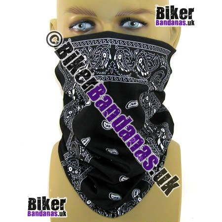 Black Paisley Border Panel Multifunctional Headwear / Neck Tube Bandana. One of over 400 Styles for Men and Women