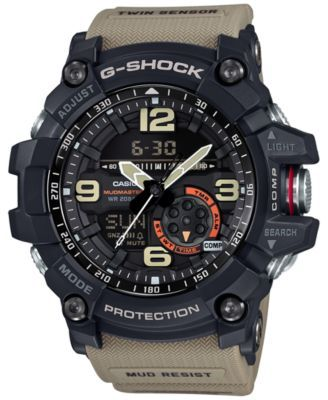 G-Shock Men's Analog-Digital Mudmaster Twin Sensor Khaki Strap Watch 56x55mm GG1000-1A5 | macys.com