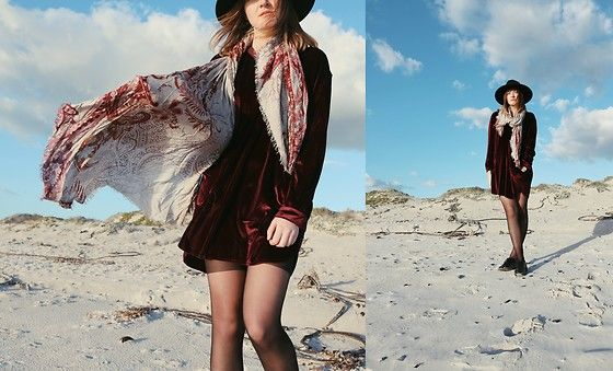 Get this look: http://lb.nu/look/8798337  More looks by Lootsin Loots: http://lb.nu/user/3241971-Lootsin-L  Items in this look:  Fraas Scarf, Zaful Dress, H&M Hat   #artistic #bohemian #vintage #boho #festival #festivalfashion #velvet #folk #indie