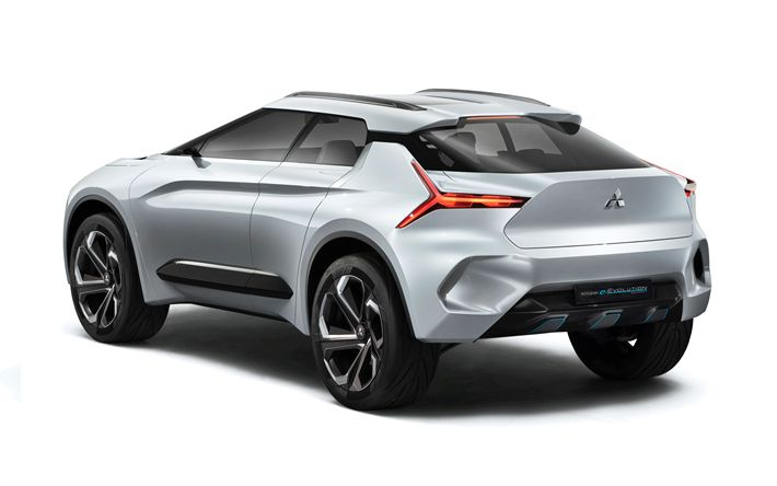 Download wallpapers Mitsubishi e-Evolution, 4k, rear view, electric crossover, concepts, Japanese cars, Mitsubishi