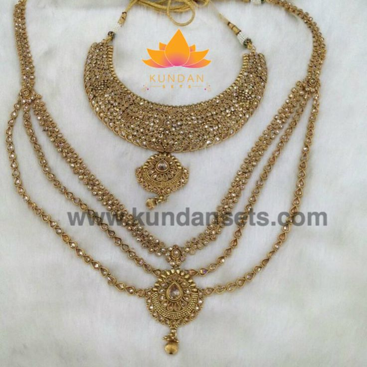 Indian Bridal Polki Jewelry Set with choker necklace, long necklace, earrings, tikka, and haath phool Stones: Polki Diamond Gold Plated *Please contact us to custom color or jewelry set