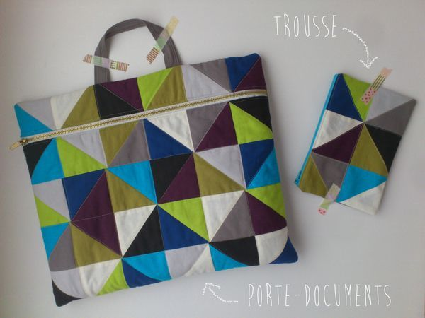 Triangle tote & pouch