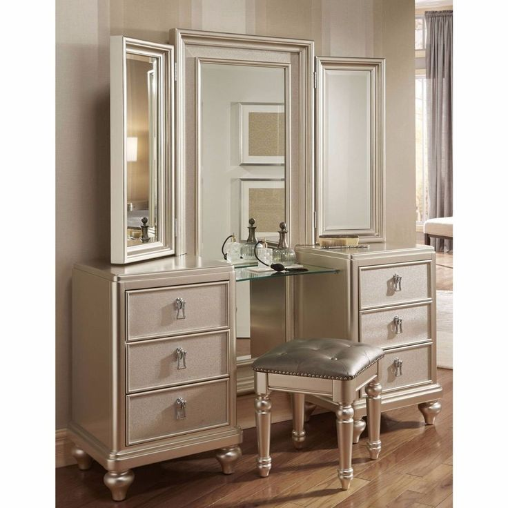 Best Photo Gallery For Website Goddess Vanity Dresser with Stool and Tri View Mirror
