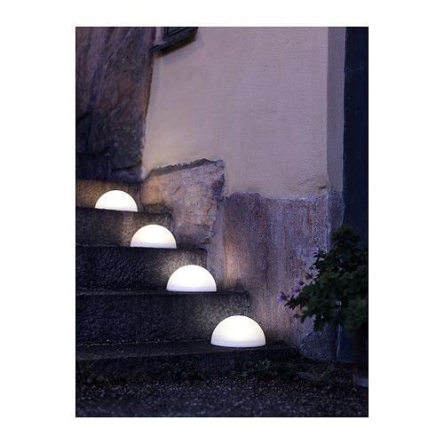 Light the path for your guests with SOLVINDEN solar-powered half globe lighting.