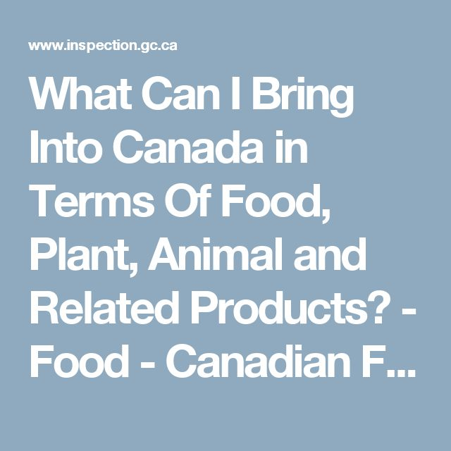 What Can I Bring Into Canada in Terms Of Food, Plant, Animal and Related Products? - Food - Canadian Food Inspection Agency