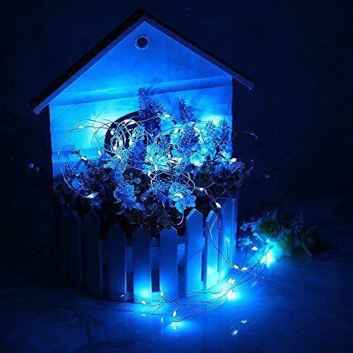 DUMVOIN Silberdraht LED Lichterkette Batteriebetrieben (30 LEDs, blau, 10ft, 3xAA Batterie)