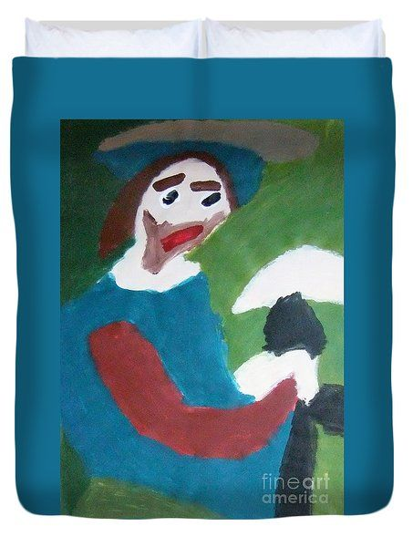 Duvet Cover featuring the painting Man With A Feathered Hat 2014 by Patrick Francis