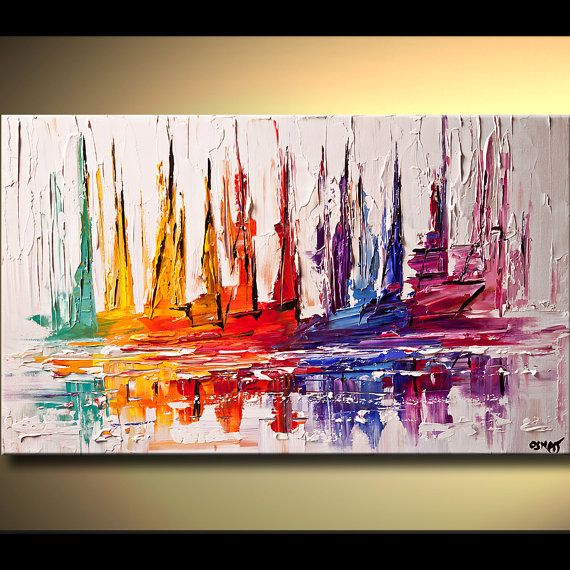 Abstract Seascape Painting Contemporary Sail Boat by OsnatFineArt, $425.00